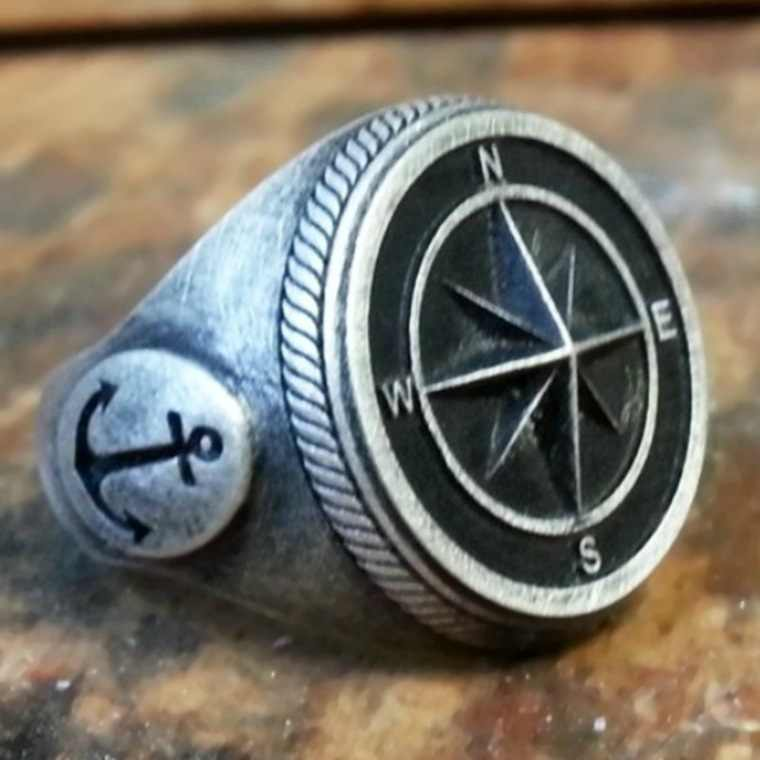 2019 Ins Trendy Vintage Viking Anchor Hip Hop Punk Rock Compass Silver Ring for Men Women Luxury Naval Knight Rings Male Jewelry