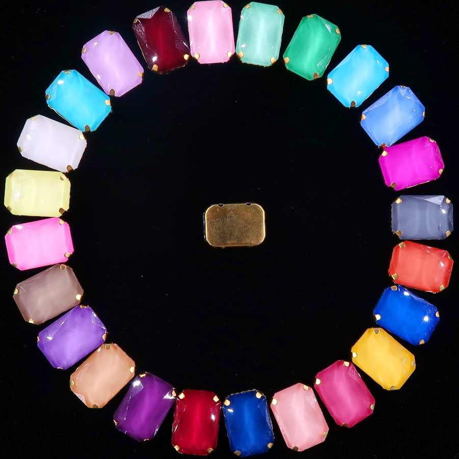 Vàng Móng Vuốt Cài Đặt 20 Cái/gói 13X18 Mm Jelly Candy & AB Màu Sắc Kính Pha Lê Hình Chữ Nhật May Trên kim Cương Giả Váy Cưới DIY