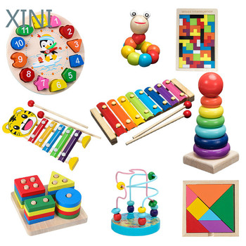 Kids Montessori Wooden Toys Rainbow Blocks Kid Learning Toy Baby Music Rattles Graphic Colorful Wooden Blocks Educational Toy image