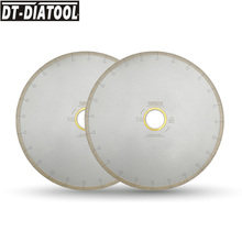 DT-DIATOOL 2pcs 300/350mm Wet Diamond Ceramic Cutting Disc Saw Blades With Hook Slot Bore 60mm with 50mm Reducer For Tile Marble 14 350mm diamond circular saw blade cutting disc for marble stone 2 50mm bore