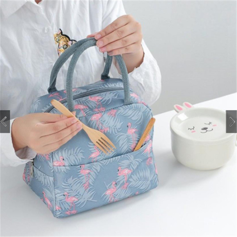 Fresh Insulation Cold Bags Thermal Oxford Lunch Bags For Women 2019 Waterproof Convenient Leisure Bag Cute Flamingo Cuctas Tote