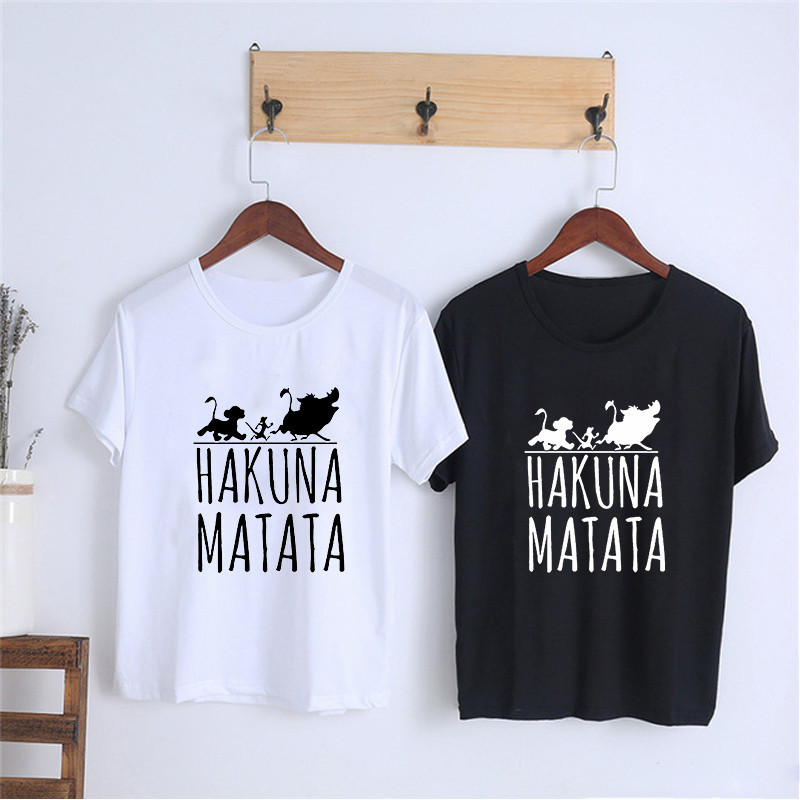 Showtly HAKUNA MATATA Female T Shirt Summer Women 2019 Short Sleeve Print Cartoon Tshirt White Black Cute Harajuku T-shirts