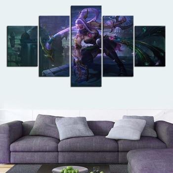 5 Pieces Templar Assassin Dota 2 Lanaya Game Poster HD Print Wallpaper Canvas Art Living Room Decor Wall Painting