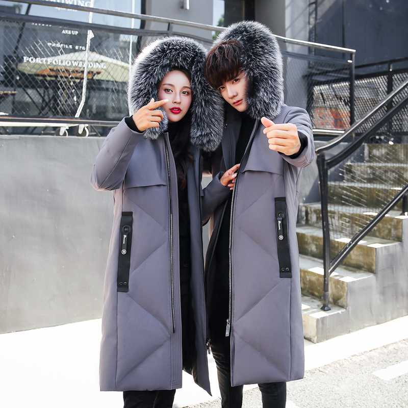 Winter Jacket Men Parka Couple Down Jacket Fox Big Fur Collar Korean Plus Size Coat Women Jackets Casaco Masculino KJ632