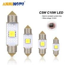 2 шт светодиодные лампы anmingpu 36 мм 39 м 31 41 c10w c5w