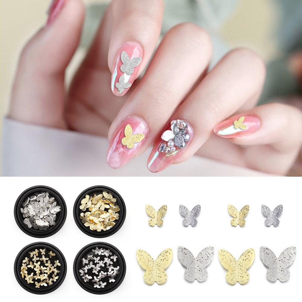 2020 New 3D Metal Butterfly Butterfly Nail Flakes Nail Sticker Nail Rhinestones DIY Frosted Nail Art Jewelry 3D Nail Decoration