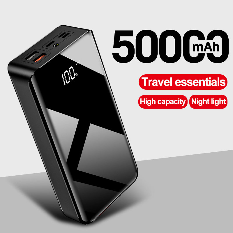 50000mAh Power Bank USB <font><b>50000</b></font> <font><b>mAh</b></font> Powerbank Portable External <font><b>Battery</b></font> With LED Display Portable Charger For Xiaomi For iPhone image