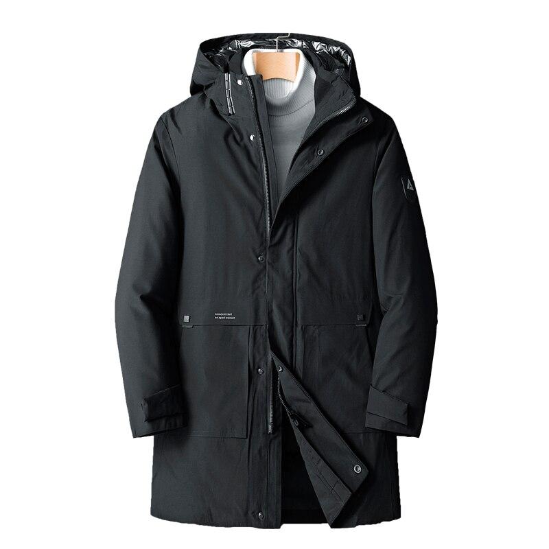 2020 Новинка зимы высокого качества теплая дутая куртка мужская длинная куртка с капюшоном, хлопковая куртка-плащ брендовая одежда свободные...