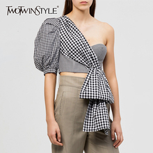 TWOTWINSTYLE Off Shoulder Shirt Women Clothes 2020 Summer Blouse Streetwear Ladies Korean Fashion Clothing Cold Shoulder Tops