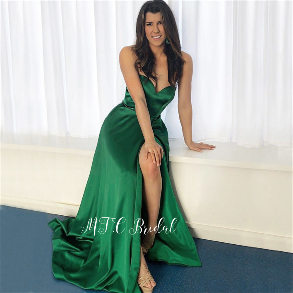Wholesale Long Green Satin Evening Dress Side Slit Sweetheart A Line Cheap Wedding Party Gowns 2019 Vestido De Festa Longo