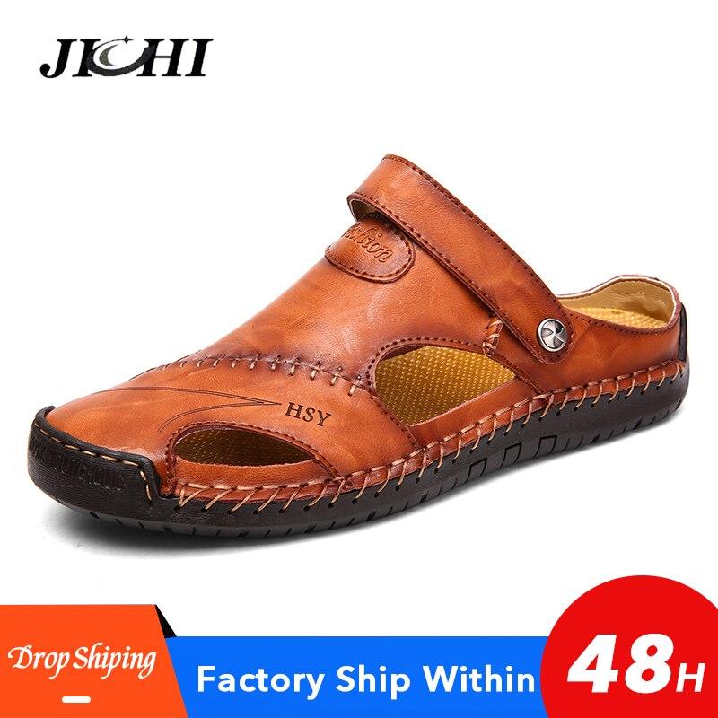 Leather Sandals Men Summer Comfortable Men Shoes Big Size  Leisure Beach Men's Sandals High Quality Sandals Slippers