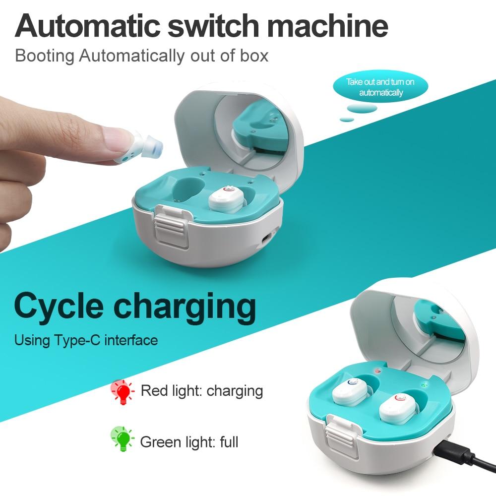 Mini appareil d'aide auditive Invisible, nouveau modèle 2021, amplificateur de son réglable pour personnes âgées sourdes
