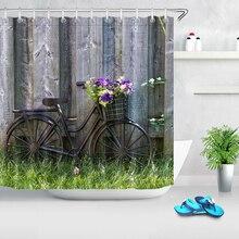 Tablas de madera rústicas Vintage bicicleta primavera cortina de baño para baño impermeable poliéster tela Cortina de ducha con 12 ganchos