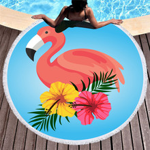Flamingo Microfiber Round Beach Towel With Tassels 150cm Wall Tapestry Bath Towels Toalla De Playa 2019 geometric patterns summer round beach towel with tassels beach covers bath towel picnic yoga mat for adult toalla de playa