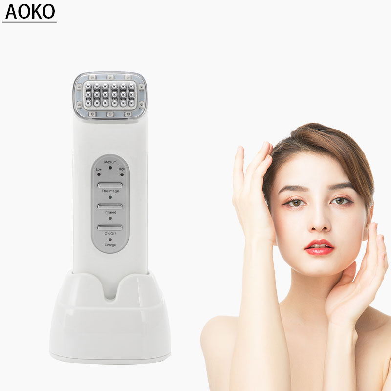 AOKO Portable Skin Rejuvenation Wrinkle Removal RF Machine With Infrared For Face Tightening Skin Lifting RF Equipment Home Use in Ion Device from Beauty Health