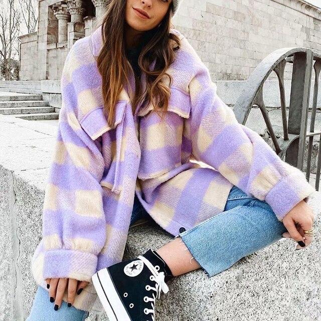 Fashion Women Purple Plaid Woolen Shirts 2021 Elegant Ladies Oversize Long Shirt Vintage Female Stylish Thick Blouses Girls Chic 1