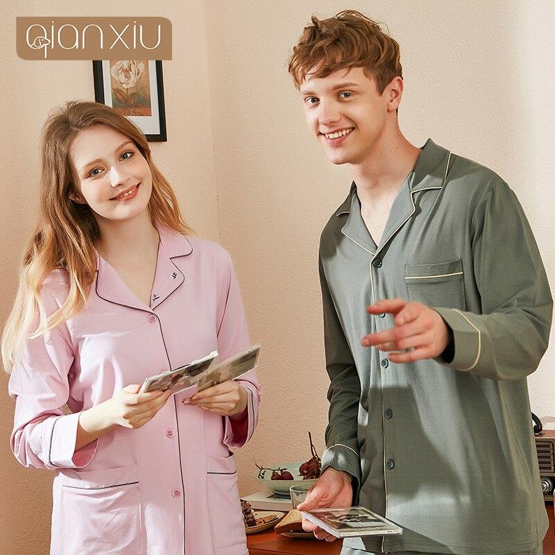 2019 Autumn New Couple Men's Long-sleeved Bamboo Fiber Buckle Collar Lapel Pajamas Set