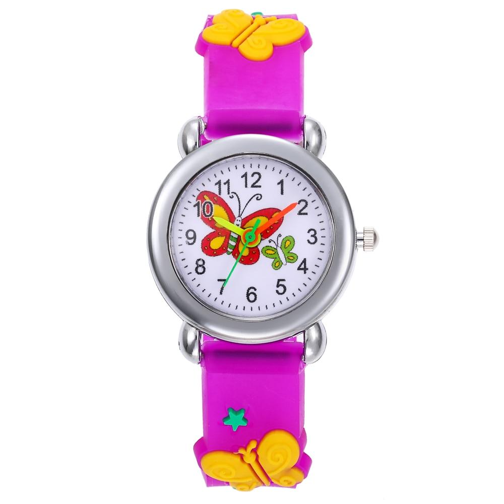 New Cartoon Butterfly Children Watches Cute Rubber Girl Watch Kids Student Electronic Watch Child Clock Reloj Infantil Saati