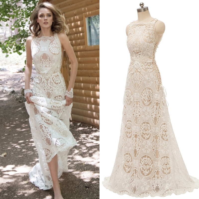 Boho Bohemian Bridal Gown White Lace With Champange Lining Wedding Dress 100% Real Sample Photo Factory Price