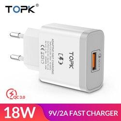 TOPK B126Q 18 Вт Быстрая зарядка 3,0 быстрое зарядное устройство для мобильного телефона с европейской вилкой настенное USB зарядное устройство ада...