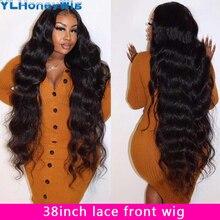 34 polegada onda do corpo 13x4 perucas dianteiras pré arrancadas com o cabelo do bebê cabelo humano brasileiro longo laço frontal perucas para preto