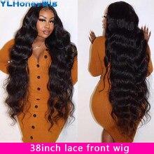 36 38 perucas frontais brasileiras do laço longo do cabelo humano da onda 13x4 do corpo de 40 polegadas pre arrancadas com o cabelo do bebê perucas frontais do laço longo para a mulher preta