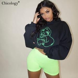 Image 3 - Chicology neon kız desen baskı boy streetwear hoodies kazak uzun kollu kpop giysileri 2019 sonbahar kış kadın üst