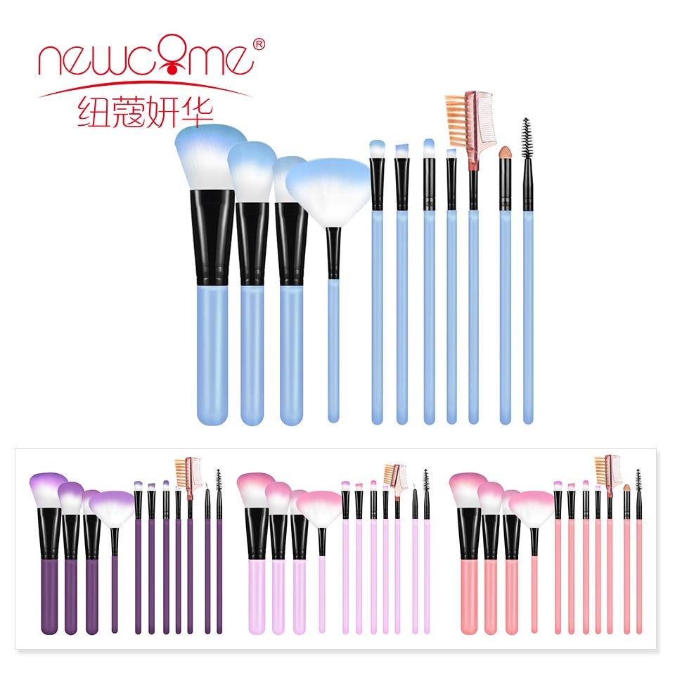 newcome 11 pcs conjunto de escova de maquiagem escova de olho ferramentas de beleza ventilador po
