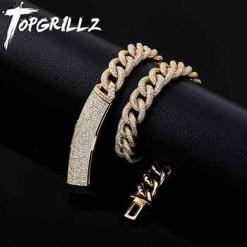 TOPGRILLZ 13mm Kubanischen Halskette Iced Zirkon Halskette Mikro Pflastern Hip-hop Mode Schmuck