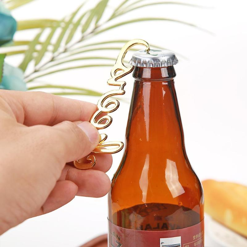 Gold/Sliver Bottle Opener Crown Cheers Letters Shaped Wine Beer Bottle Opener Kitchen Wedding Party Gift Decoration