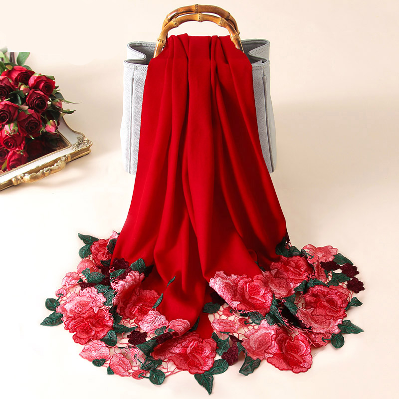 Women Bride Embroidery 100% Pure Wool Scarf Red All-Match Shawls And Wraps For Ladies Pashmina Wedding Winter Wool Poncho Stoles