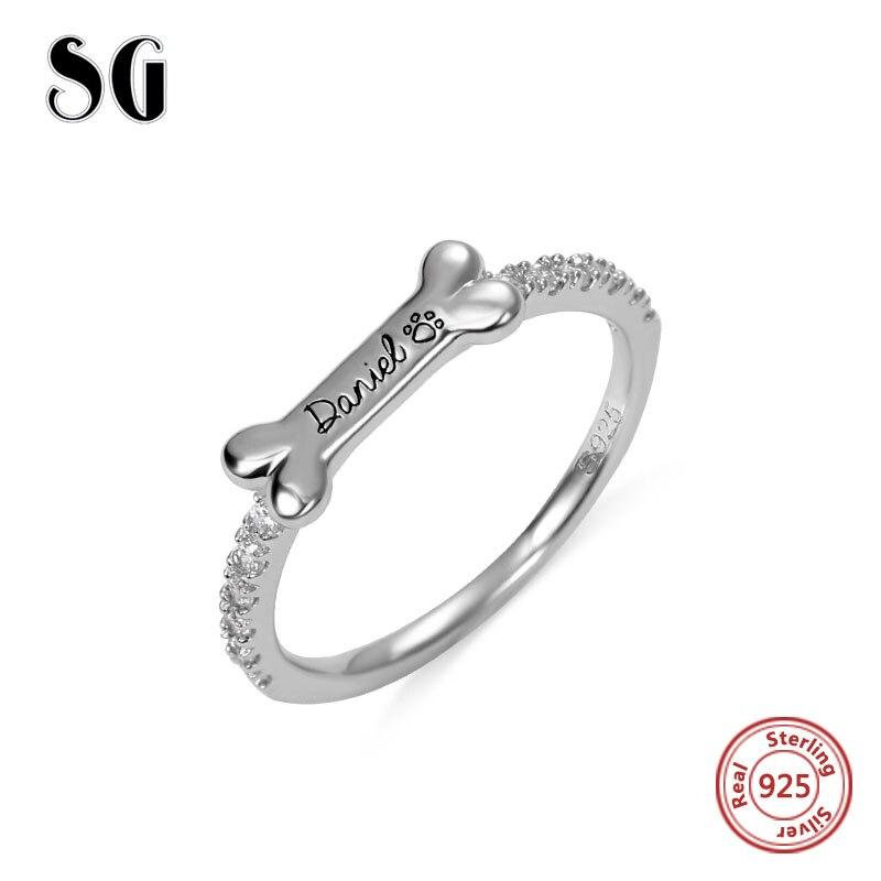Personalized Dog Bone Shape Engraved Dog Pet Name Ring Memorial Ring Dog Paw Ring Girl Women Rings Custom Name Rings