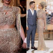2020 luksusowe suknie balowe z paskiem wysadzanym kryształkami syrenka Sexy arabski złoty cekinami dwa kawałki Prom sukienki na przyjęcie Vestido De Festa