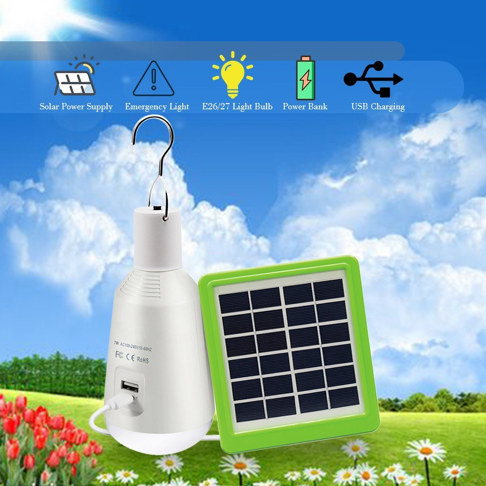 NEWKBO 7W E27 USB Charging Rechargeable Solar Powered LED Light Bulb For Outside Lighting Camping Fishing