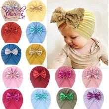 Nishine-sombreros de lazo para niños recién nacidos, gorros de lazo grande de lentejuelas con purpurina suave, gorro boina de algodón infantil, accesorios para fotos