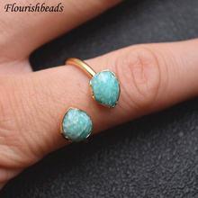 Популярные натуральные двойные камни граненые капли воды кольца