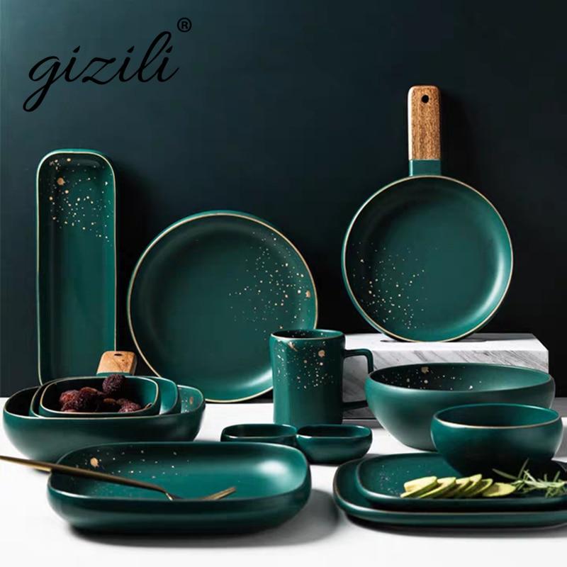 GIZILI высокой моды Ретро зеленый столовые тарелки набор Скандинавская керамическая посуда набор посуды миска тарелка суп миска набор в совре...