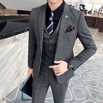 ( Jacket + Vest + Pants ) Boutique Fashion Mens Plaid Casual Business Suit High-end Social Formal Suit 3 Pcs Set Groom Wedding 15