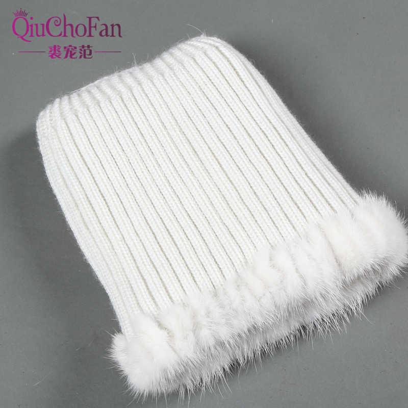 新ナチュラルミンクの毛皮女性の冬の帽子ニットキャップ女性本物のキツネの毛皮の帽子ボンバー帽子女性暖かい冬のロシア帽子