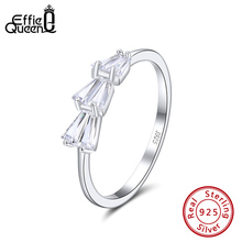 Effie Queen 100% 925 Sterling Silver Rings With AAAA Cubic Zircon Finger Ring Silver Color For Female Jewerly Gift BR149 effie queen 100