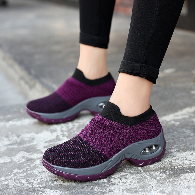 Women Shoes Spring Autumn Slip On Fly Weave Casual Shoes Women Breathable Soft Women Sock Shoes Roman Increasing Hight Shoes