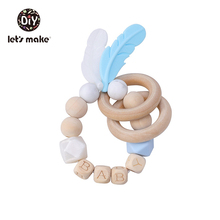 Let's Make 1Pc Baby Nursing Bracelet Bpa Free Silicone Feather Wooden Teething Rings Personalized Baby's Name Baby Wood Rattles