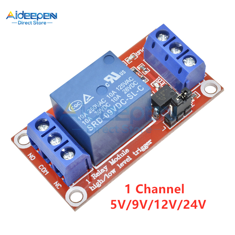 DC 5V 9V 12V 24V 1 Channel Relay Module With Optocoupler Shield Board High And Low Level Trigger Power Supply Module For Arduino