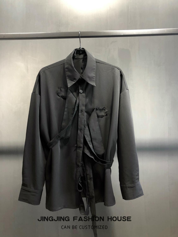 Ruban Design noir homme pioneer ruban déconstruit chemise à manches longues chemise ample