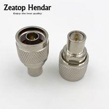 2 pces bronze n tipo macho jack para fme macho plug rf coaxial adaptador reto conector de fio