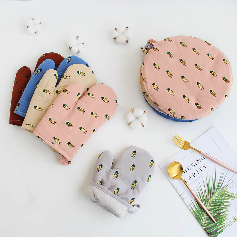 Slip-resistant Oven Mitts Microwave Oven Gloves Kitchen Supplies Cotton Linen Pineapple Pattern 1Pcs Cooking Tools