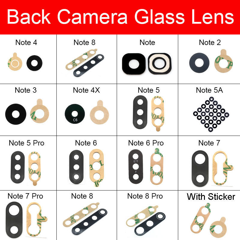 Rear Camera Glass Lens With Adhesive Sticker For Xiaomi Redmi Note 2 3 4 4X 5 5A 6 7 8 Pro Back Camera Glass Lens Cover Repair