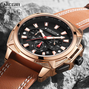 Image 1 - Megir カジュアルメンズ quarzt 腕時計ブラウンレザー防水腕時計男性高級スポーツクロノグラフ腕時計レロジオ masculino 2128