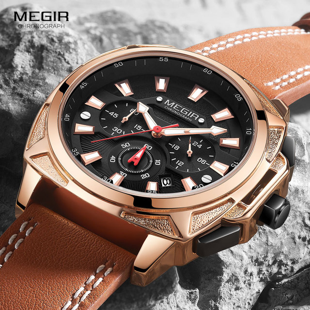Megir カジュアルメンズ quarzt 腕時計ブラウンレザー防水腕時計男性高級スポーツクロノグラフ腕時計レロジオ masculino 2128