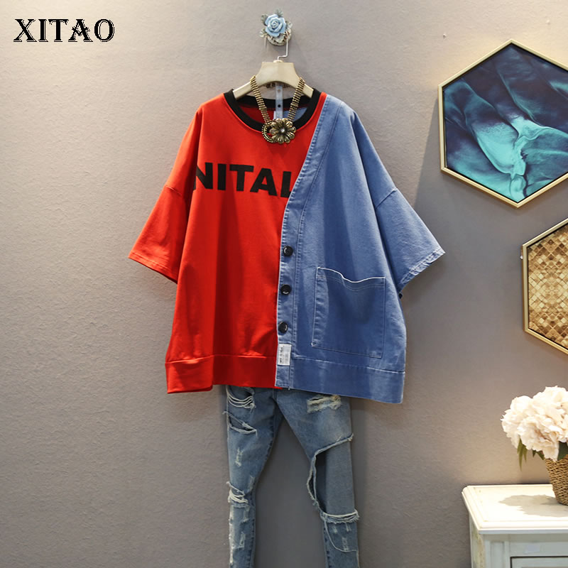 XITAO Letter Patchwork T Shirt Fashion New Women Pullover 2020 Summer Print Single Breast Pocket Casual Style Loose Tee DMY4692